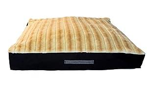 B00NLQZ8D48M GoodDogBeds Faux Fur Square Dog Bed, 36-Inch, Crme Brulee