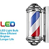 "Clevr 23"" LED Barber Pole, 8.5"" Thick, Chrome Finish Caps, Red White Blue Stripes Spinning Sign Salon Shop Barbershop"
