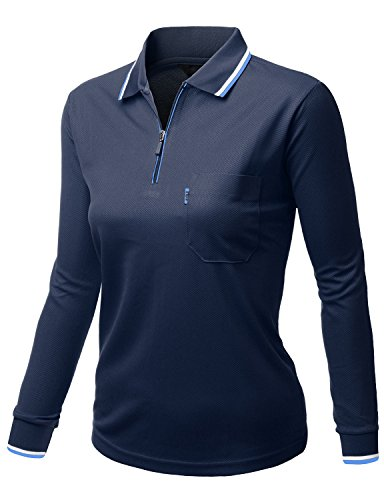 Womens basic style Front Zipper Collar Long sleeve Polo Tshirts NAVY Size S