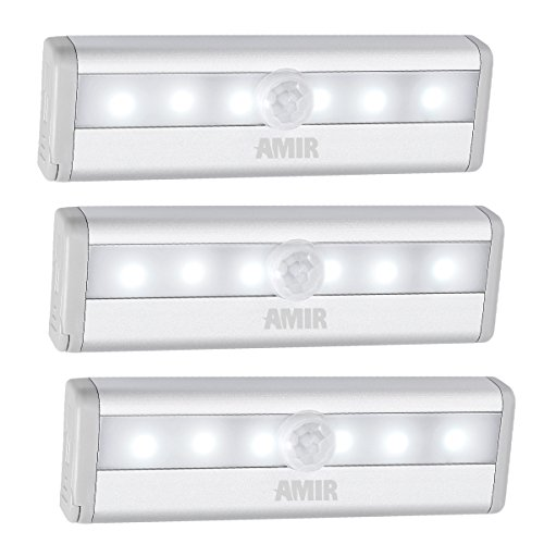 AMIR Motion Sensing Closet Lights, 6 LED Battery Operated Wireless Night Light for Cabinet, Wardrobe, Stairs, Step Light with Magnetic Strip (3 Pack)