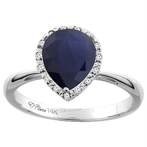 (14K White Gold Natural Diffused Ceylon Sapphire & Diamond Halo Engagement Ring Pear Shape 9x7 mm, size 6)
