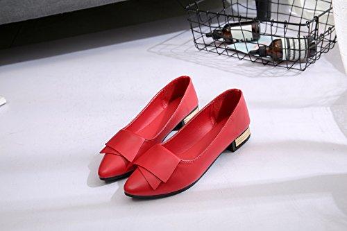con rosso punta donna pelle Flat 37 da scarpe Soft Scarpe singola Calzature di Casual piatto La Ultra marea Light di UPqtg