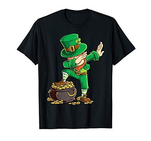 Boys St Patricks Day Shirt Kids Dabbing Leprechaun Men -