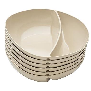Zak! Designs Moso Divided Bowl, 100% Natural Materials and BPA-free, 7.5 , Rye, Set of 6