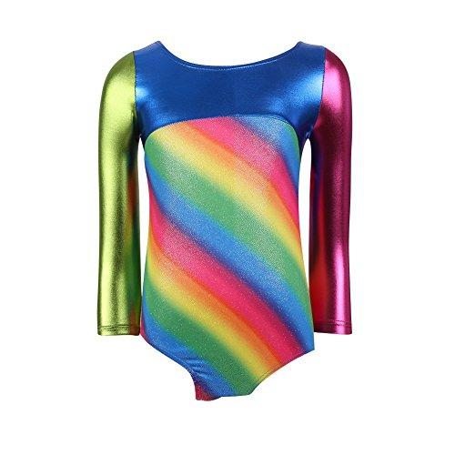 Balai Girls Long Sleeve Stripe Cosmic Shine Gymnastics Leotard Dance Dress