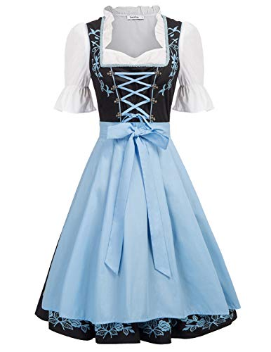 Jasambac Women's German Dirndl Dress for Halloween Beer Costumes Size M Color Black]()