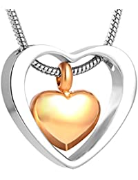 Two Hearts Urn Necklace for Ashes - Cremation Memorial...