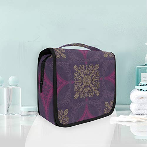 (Toiletry Bag Purple Medallion Portable Makeup Storage Cosmetic Bag)