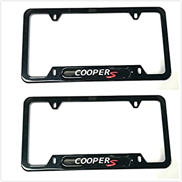 2 Black Auteal Car Stainless Steel Metal Coopers License Plate Tag Frame Cover Holders w//Caps Screws for Mini