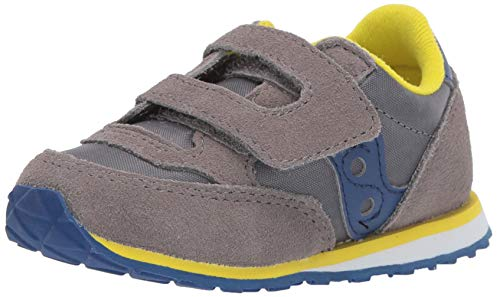 Saucony Boys' Baby Jazz HL Sneaker, Grey/Blue, 090 Medium US Toddler (Saucony Boy Toddler Shoes)