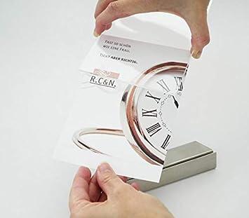 Acrylaufsteller DIN A6 Basis aus Edelstahl Tischaufsteller Werbeaufsteller Einzelblatt-Aufsteller 105 x 148 mm Einschubtasche aus Acrylglas Prospekthalter im Hochformat//Querformat