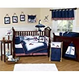Red, White and Blue Vintage Aviator Airplane Childrens and Kids 3 Piece Full / Queen Boys Bedding Set