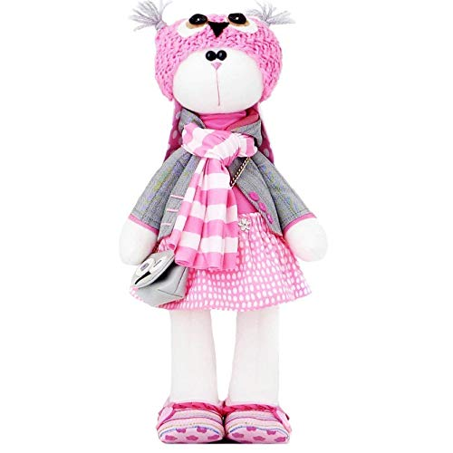 Handmade Easter Bunny Stuffed Doll Girl with Cap, Scarf and Bag, Removable Clothing, 14.5 inch. by ZuzuHappyToys
