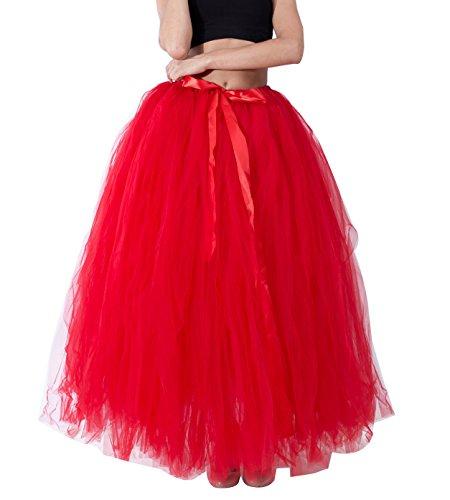 Donna gonne lunghe tulle Principessa Balletto Bubble Puffy Tutu Petticoat Skirt Sottogonna Rosso