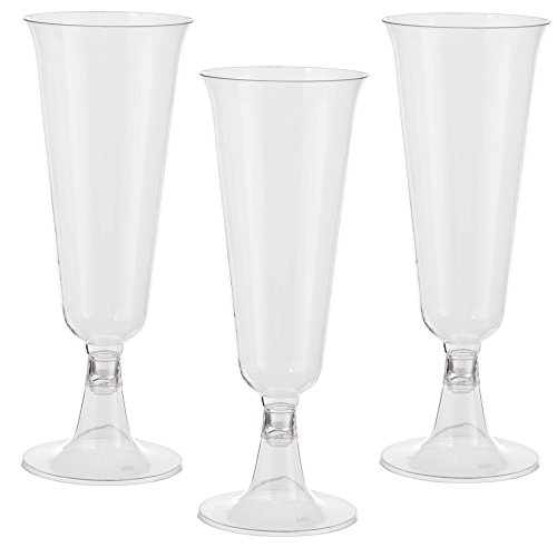 Exquisite 5 oz Clear Plastic Champagne Flutes, 2 Piece Stemmed Plastic Wine Cups- 48 Count