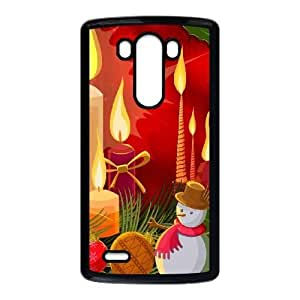 Durable Hard cover Customized TPU case Christmas Candles Illustration LG G3 Cell Phone Case Black