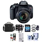 Canon EOS Rebel T7i DSLR with EF-S 18-135mm f/3.5-5.6 IS STM Lens - Bundle with Camera Case, 16GB SDHC Card, 67mm Filter Kit, Screen Protector, Cleaning Kit, Memory Wallet, Software Package
