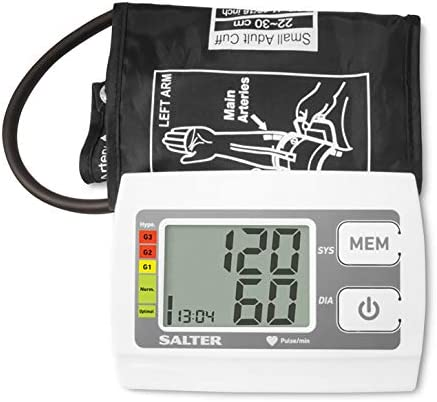 Salter Automatic Upper Arm Blood Pressure Monitor For Home Use, Heartbeat Detector, Hypertension Indicator – Based on World Health Organisation Guidelines, 60 Memories, 32-42cm Cuff
