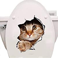"""A&B Traders Funny 3D Art Home Decor Cat Decal Stickers Animal Vinly Sticker for Wall/Door/ Toilet 11.4"""" x 8.5"""