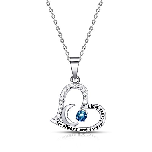 - ivyAnan Jewellery Birthday Gift for Women I Love You Dancing Birthstone Blue Topaz Necklace Jewelry Gift for Women Girls Daughter Wife (December)