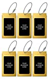 Luggage Tags TUFFTAAG for Business Cards, Metal Suitcase Labels, 6 Pack Bundle (6 Gold)