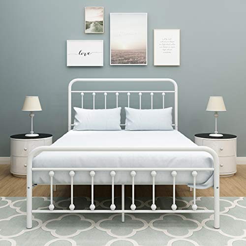 BOFENG Full Size Size Metal Bed Platform Frame with Headboard and Footboard Mattress Foundation Heavy Duty Steel Slat Support Box Spring Replacement for Kids Adult Beds White (Iron White Bed)