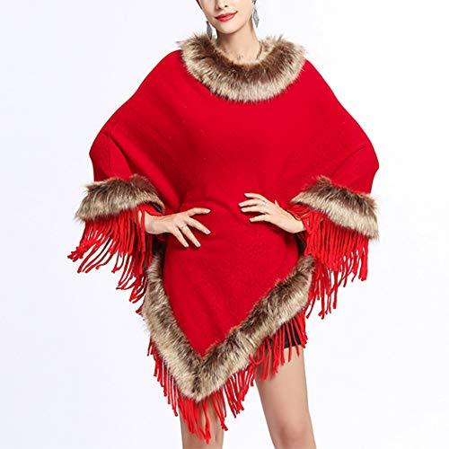 HANMAX de Unique Hiver Femme d'hiver en Longue Manches Dcor Automne Fourrure Pull Cape Col Taille Laine Frange Rouge Rr5wRa