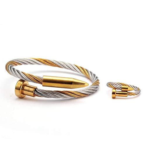 Designer Inspired Titanium Stainless Steel Vintage Signature Twisted Cable Bracelet Bangle (Gold and Silver Bullet ()