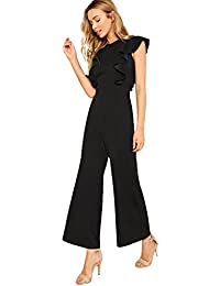 a404e0abc1c Women s Sexy Casual Sleeveless Ruffle Trim Wide Leg High Waist Long Jumpsuit