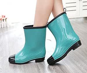 FidgetGear Fashion Womens Match Color Mid Calf Rain Boots Shoes Casual Pumps Shoes Size Green US5=EUR36=UK3=230mm