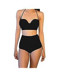 Tootu Women's One Piece Vintage High Waisted Bikini Set Swimwear Swimsuit