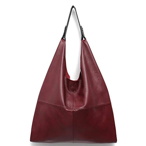 - Women's Handbag STEPHIECATH Genuine Leather Slouchy Hobo Shoulder Bag Large Casual Soft Handmade Tote Bags Ladies Vintage Bucket Snap Shopping Bag with Zipper Cellphone Liner Bag Inside (Wine Red)