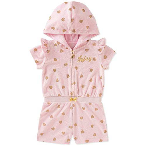 (Juicy Couture Little Girl's Hooded Front Zip Shortall Romper 4T)