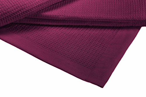 Crover Collection All Season Thermal Waffle Cotton Blanket with Deep Plain Edge Border and Durable Soft Yarns Queen Size 90x90, Plum