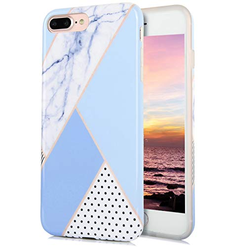 iPhone 8 Plus iPhone 7 Plus Case Cute Floral White Blue Dots Marble Pattern IMD Hybrid Hard TPU Back Cover Shockproof Protective Fun Phone Cases for Women Girls Men Boys[5.5