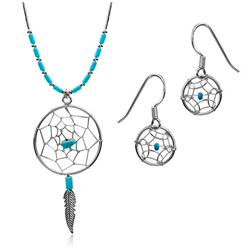 Dream Catcher Sterling Silver Simulated Earrings Necklace Set 18
