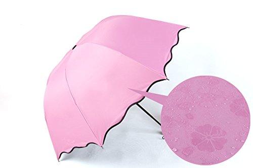 Invisible Flowers Ultralight Windproof Sun Rain Folding Umbrella (Pink) ()