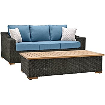 La Z Boy Outdoor New Boston Resin Wicker Patio Furniture Sofa With Pillows  And Part 61