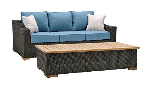 La-Z-Boy Outdoor New Boston Resin Wicker Patio Furniture Sofa with Pillows and Coffee Table, Denim Blue With All Weather Sunbrella Cushions (Sofa Deep Seating)