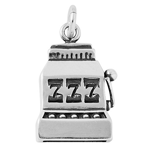 Argent sterling antique Slot machine Charm sur une Chaîne de boîte en argent sterling Collier, 45,7cm