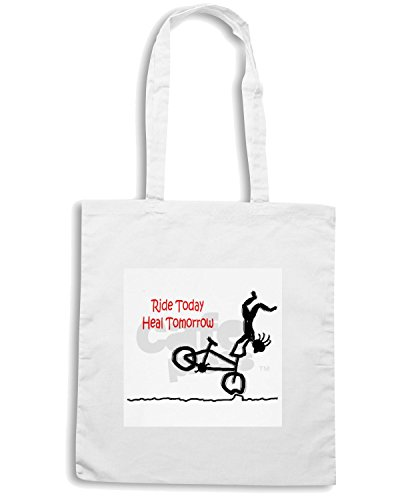 T-Shirtshock - Bolsa para la compra OLDENG00224 RIDE TODAY HEAL TOMORROW Blanco