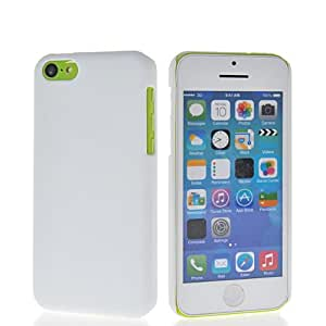 KCASE Litchi Skin Hard Rubberized Rubber Coating Back Case Cover For Apple iPhone 5C White
