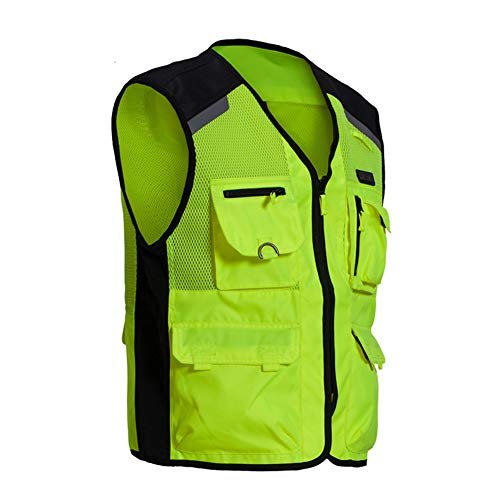 TZTZD Professional Safety Motorcycle Vest High Visibility Jacket Fluorescent Crease Resistant Reflective Strips Zip with Large Pockets,XXL(70~80KG) by TZTZD (Image #7)