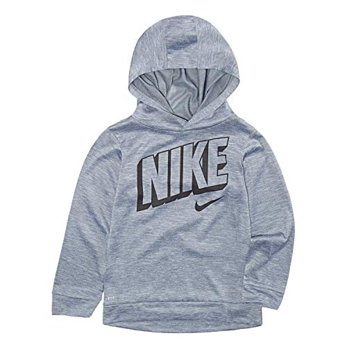 NIKE Children's Apparel Boys' Toddler Long Sleeve Hooded T-Shirt, Wolf Grey Heather, - Hooded Shirt Boys Toddler