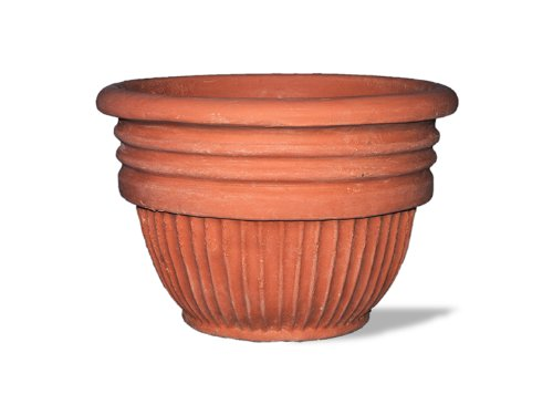 (Amedeo Design ResinStone 2506-9T Greek Ribbed Planter, 20 by 20 by 14-Inch, Terra Cotta)