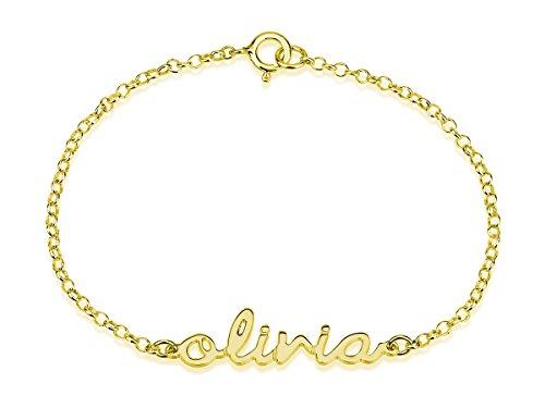 Name Bracelet , 18k Gold Plated Initial Bracelet, Name Pendant (7.5 Inches)