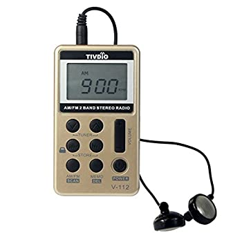 TIVDIO V-112 Portable Digital Tuning AM / FM Stereo Radio with Earphone for Walk(Gold)