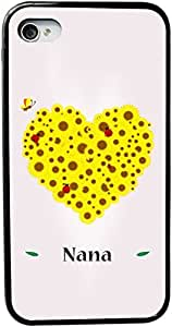 Rikki KnightTM Nana Name Yellow Flowers Heart on Pink Background Design iPhone 4 & 4s Case Cover (Black Rubber with bumper protection) for Apple iPhone 4 & 4s by lolosakes