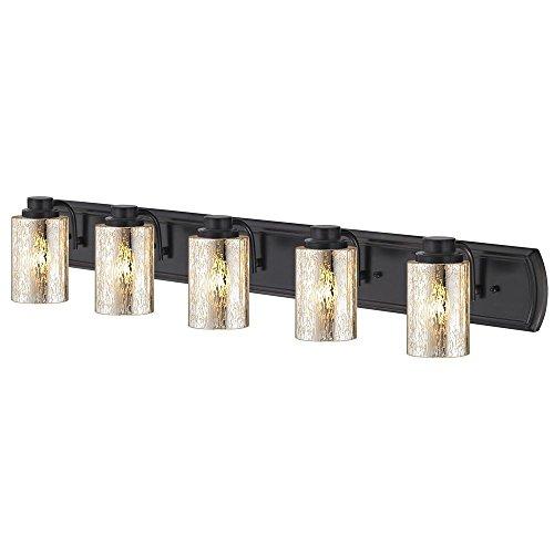 Industrial Mercury Glass 5-Light Bath Wall Light in Bronze ()