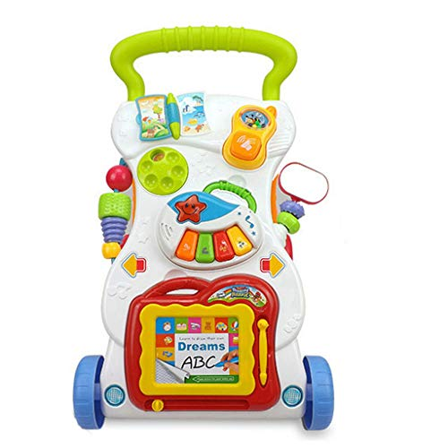 pollyhb Baby Walker, Baby Walker Trolley Early Learning Exercises Body Multi-Purpose Walker with Music Toys